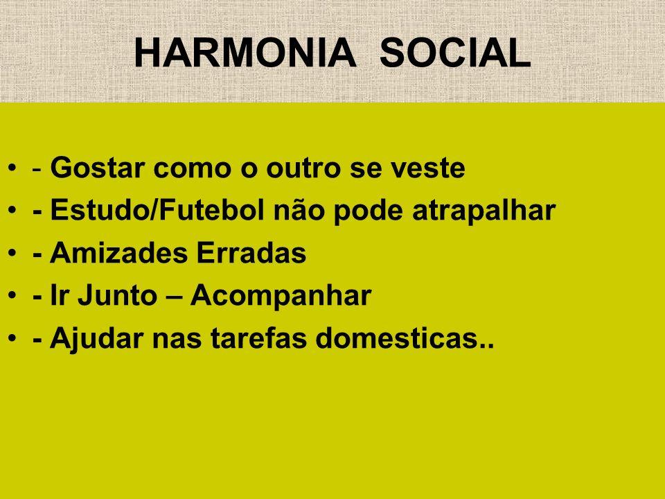 HARMONIA SOCIAL - Gostar como o outro se veste - Estudo/Futebol não pode atrapalhar - Amizades Erradas - Ir Junto – Acompanhar - Ajudar nas tarefas do