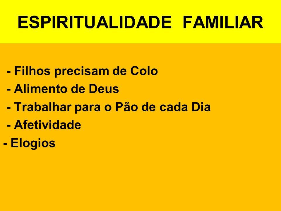 ESPIRITUALIDADE FAMILIAR - Filhos precisam de Colo - Alimento de Deus - Trabalhar para o Pão de cada Dia - Afetividade - Elogios