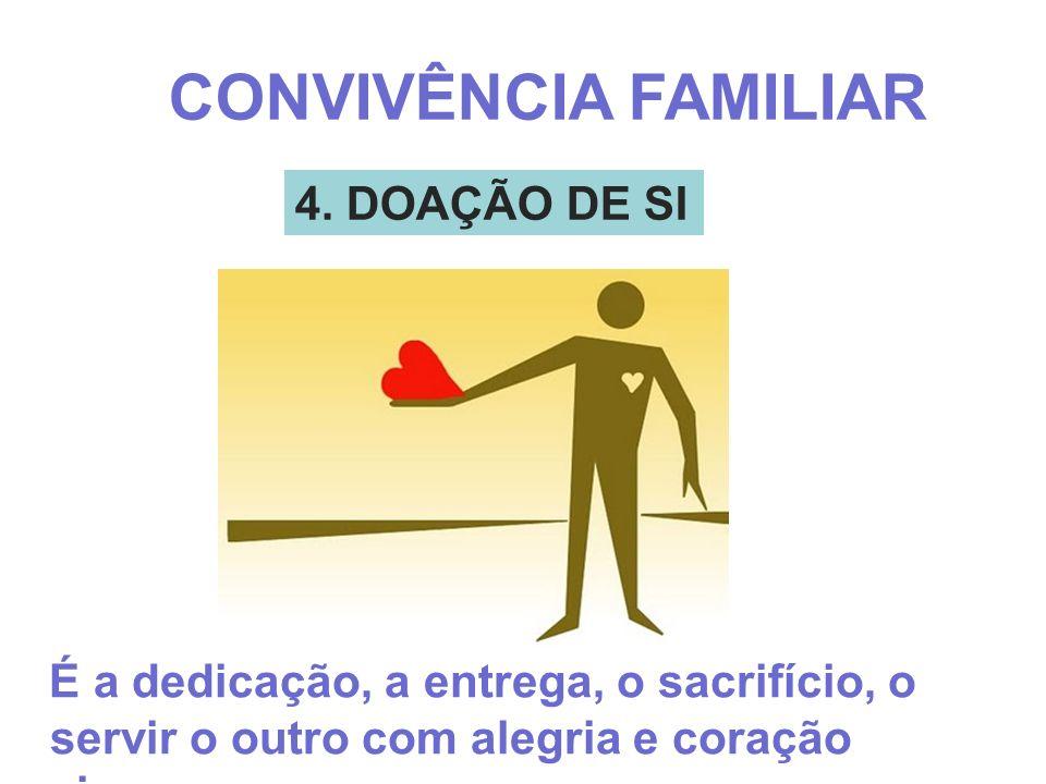 4. DOAÇÃO DE SI CONVIVÊNCIA FAMILIAR É a dedicação, a entrega, o sacrifício, o servir o outro com alegria e coração sincero;