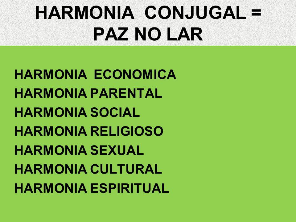 HARMONIA CONJUGAL = PAZ NO LAR HARMONIA ECONOMICA HARMONIA PARENTAL HARMONIA SOCIAL HARMONIA RELIGIOSO HARMONIA SEXUAL HARMONIA CULTURAL HARMONIA ESPI