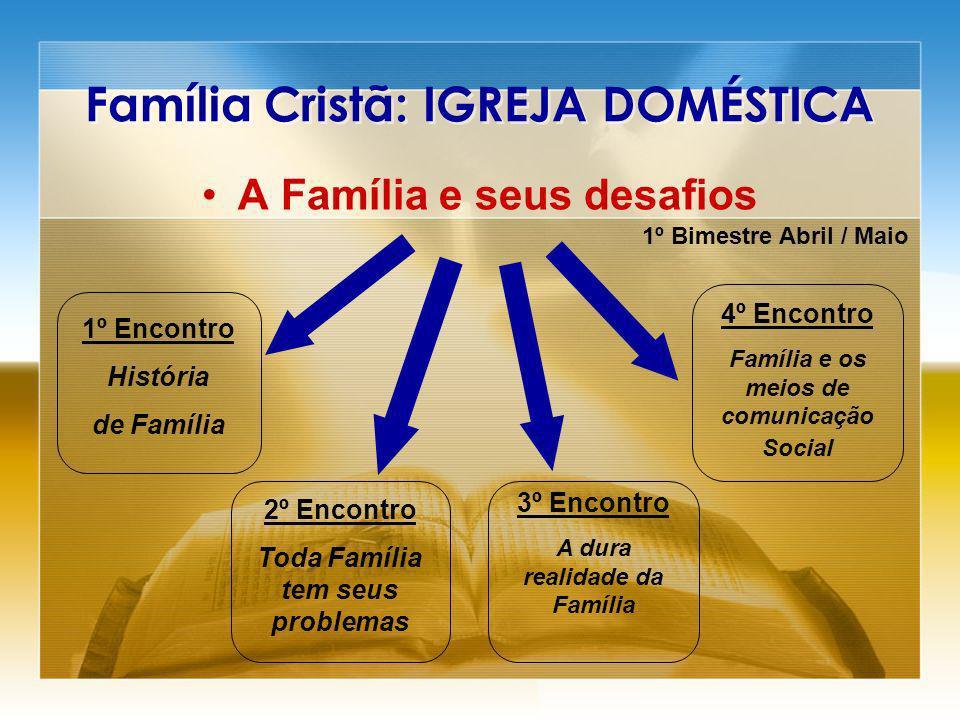 Família Cristã: IGREJA DOMÉSTICA A Família e seus desafios 1º Bimestre Abril / Maio 1º Encontro História de Família 2º Encontro Toda Família tem seus