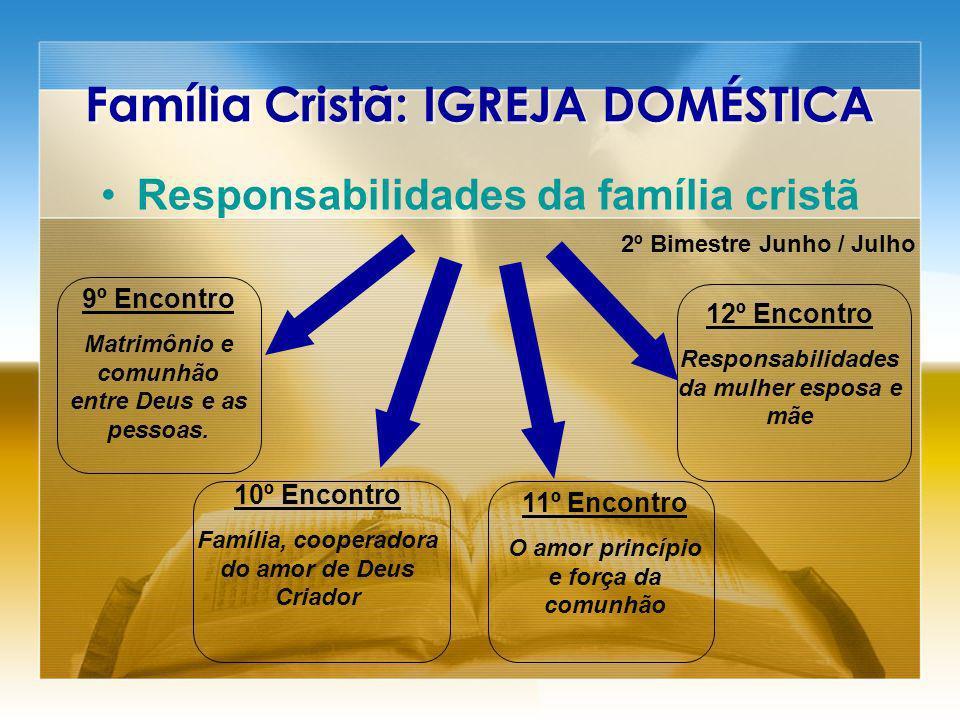 Família Cristã: IGREJA DOMÉSTICA Responsabilidades da família cristã 2º Bimestre Junho / Julho 9º Encontro Matrimônio e comunhão entre Deus e as pessoas.