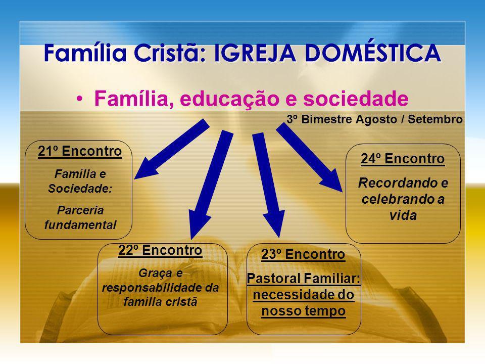 Família Cristã: IGREJA DOMÉSTICA Família, educação e sociedade 21º Encontro Família e Sociedade: Parceria fundamental 22º Encontro Graça e responsabil