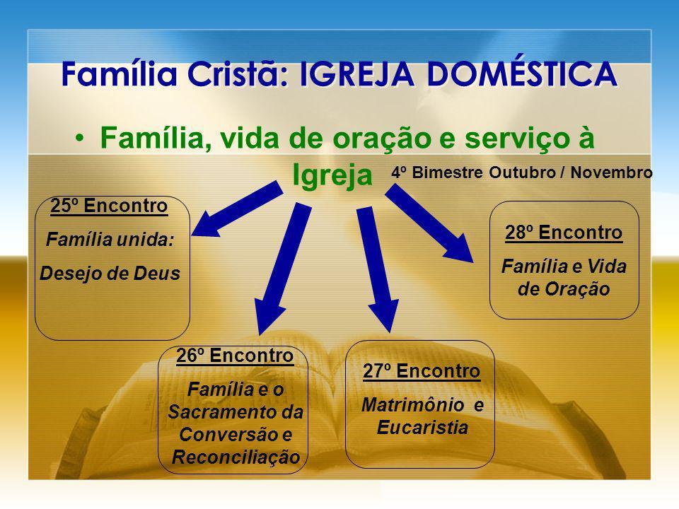 Família Cristã: IGREJA DOMÉSTICA Família, vida de oração e serviço à Igreja 29º Encontro Família e sua Tarefa Profética 30º Encontro Família, Comunidade Evangelizadora a serviço da vida.