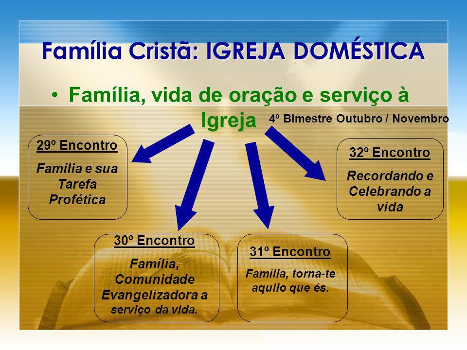 Família Cristã: IGREJA DOMÉSTICA Família, vida de oração e serviço à Igreja 29º Encontro Família e sua Tarefa Profética 30º Encontro Família, Comunida