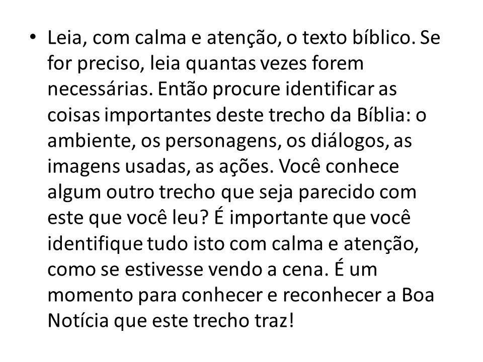 Leia, com calma e atenção, o texto bíblico. Se for preciso, leia quantas vezes forem necessárias. Então procure identificar as coisas importantes dest