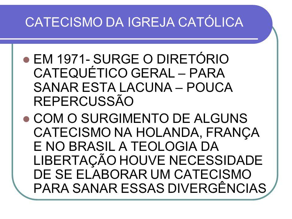 CATECISMO DA IGREJA CATÓLICA EM 1971- SURGE O DIRETÓRIO CATEQUÉTICO GERAL – PARA SANAR ESTA LACUNA – POUCA REPERCUSSÃO COM O SURGIMENTO DE ALGUNS CATE