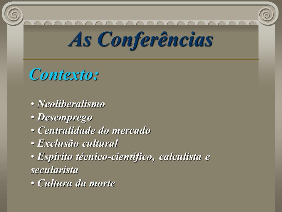 As Conferências Contexto: Neoliberalismo Neoliberalismo Desemprego Desemprego Centralidade do mercado Centralidade do mercado Exclusão cultural Exclus