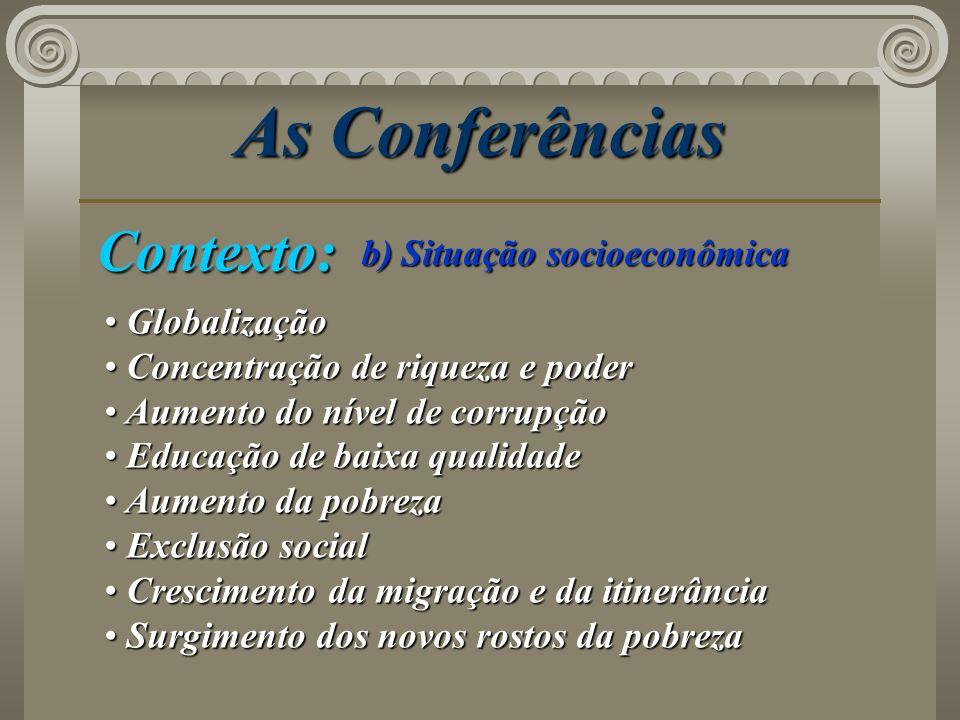 As Conferências Contexto: b) Situação socioeconômica Globalização Globalização Concentração de riqueza e poder Concentração de riqueza e poder Aumento