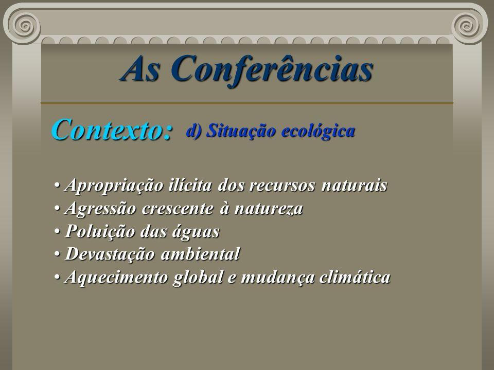 As Conferências Contexto: d) Situação ecológica Apropriação ilícita dos recursos naturais Apropriação ilícita dos recursos naturais Agressão crescente