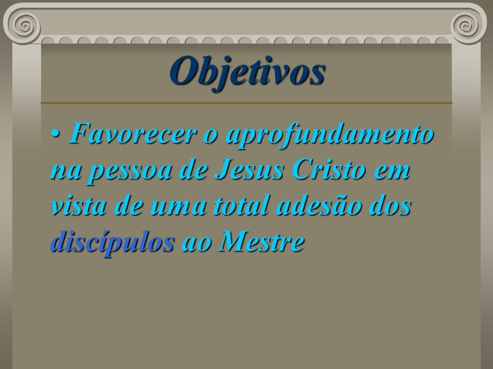 Objetivos Favorecer o aprofundamento na pessoa de Jesus Cristo em vista de uma total adesão dos discípulos ao Mestre Favorecer o aprofundamento na pes