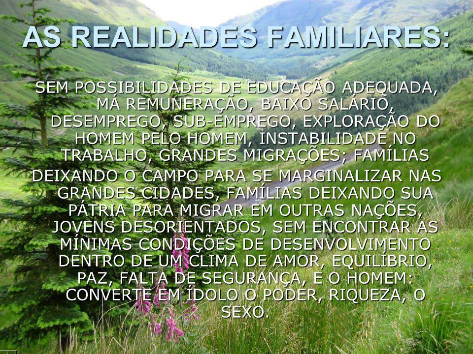 AS REALIDADES FAMILIARES: SEM POSSIBILIDADES DE EDUCAÇÃO ADEQUADA, MÁ REMUNERAÇÃO, BAIXO SALÁRIO, DESEMPREGO, SUB-EMPREGO, EXPLORAÇÃO DO HOMEM PELO HO