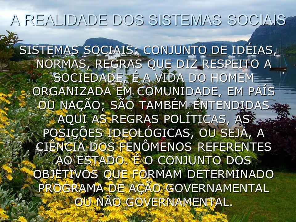 A REALIDADE DOS SISTEMAS SOCIAIS SISTEMAS SOCIAIS: CONJUNTO DE IDÉIAS, NORMAS, REGRAS QUE DIZ RESPEITO A SOCIEDADE, É A VIDA DO HOMEM ORGANIZADA EM CO