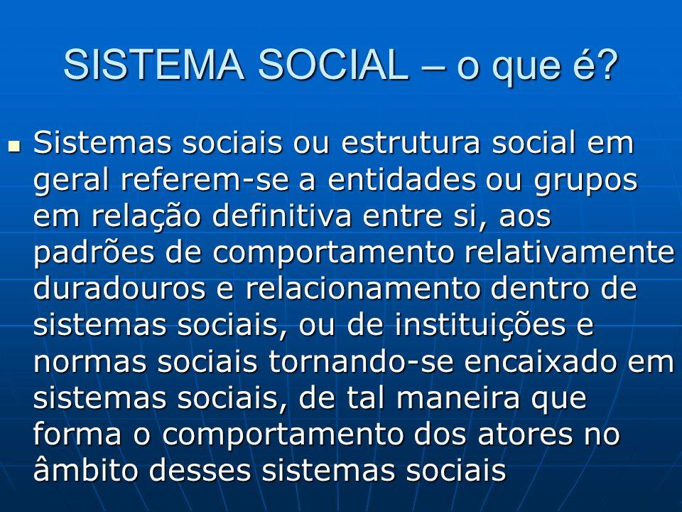 SISTEMA SOCIAL – o que é? Sistemas sociais ou estrutura social em geral referem-se a entidades ou grupos em relação definitiva entre si, aos padrões d