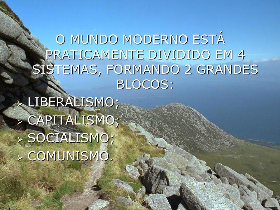 O MUNDO MODERNO ESTÁ PRATICAMENTE DIVIDIDO EM 4 SISTEMAS, FORMANDO 2 GRANDES BLOCOS: LIBERALISMO; LIBERALISMO; CAPITALISMO; CAPITALISMO; SOCIALISMO; S