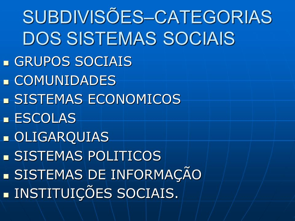 SUBDIVISÕES–CATEGORIAS DOS SISTEMAS SOCIAIS GRUPOS SOCIAIS GRUPOS SOCIAIS COMUNIDADES COMUNIDADES SISTEMAS ECONOMICOS SISTEMAS ECONOMICOS ESCOLAS ESCO