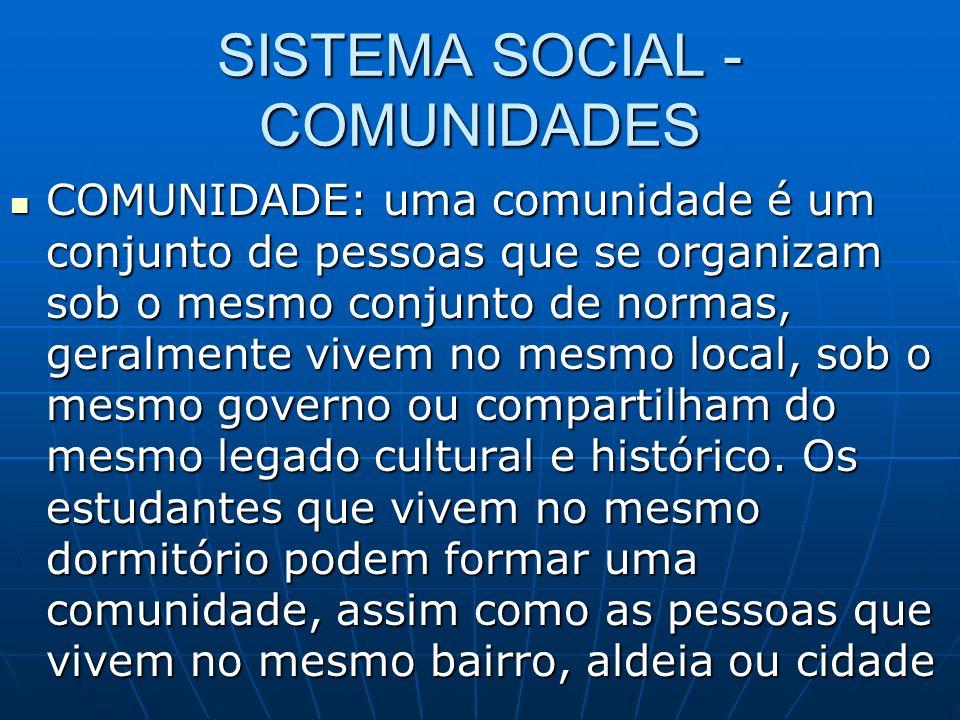SISTEMA SOCIAL - COMUNIDADES COMUNIDADE: uma comunidade é um conjunto de pessoas que se organizam sob o mesmo conjunto de normas, geralmente vivem no