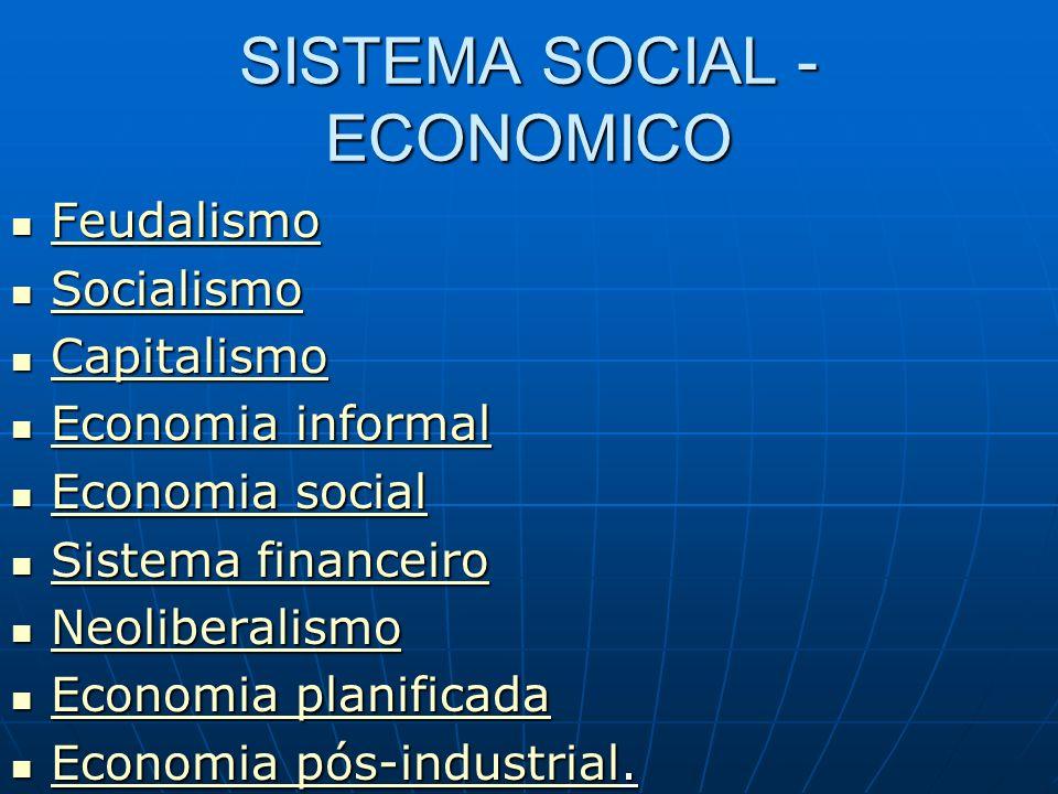SISTEMA SOCIAL - ECONOMICO Feudalismo Feudalismo Feudalismo Socialismo Socialismo Socialismo Capitalismo Capitalismo Capitalismo Economia informal Eco