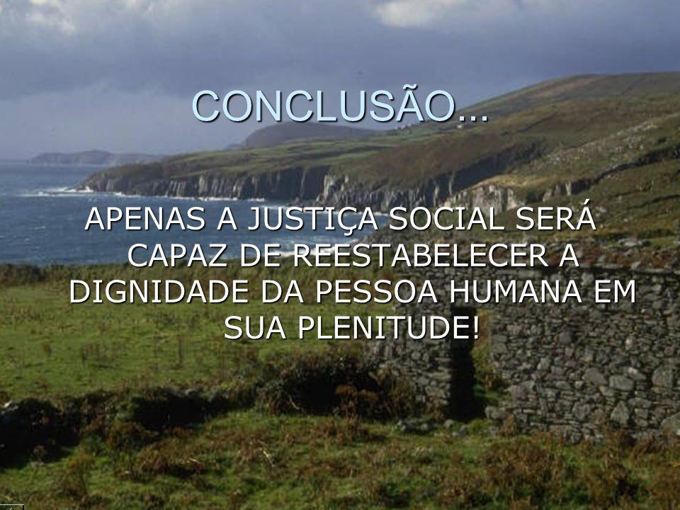 CONCLUSÃO... APENAS A JUSTIÇA SOCIAL SERÁ CAPAZ DE REESTABELECER A DIGNIDADE DA PESSOA HUMANA EM SUA PLENITUDE!