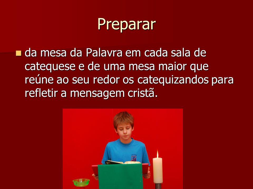 Preparar da mesa da Palavra em cada sala de catequese e de uma mesa maior que reúne ao seu redor os catequizandos para refletir a mensagem cristã. da