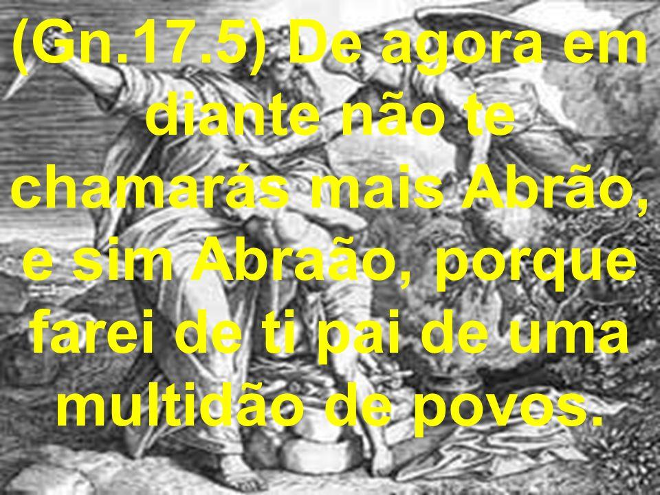 (Gn.17.5) De agora em diante não te chamarás mais Abrão, e sim Abraão, porque farei de ti pai de uma multidão de povos.