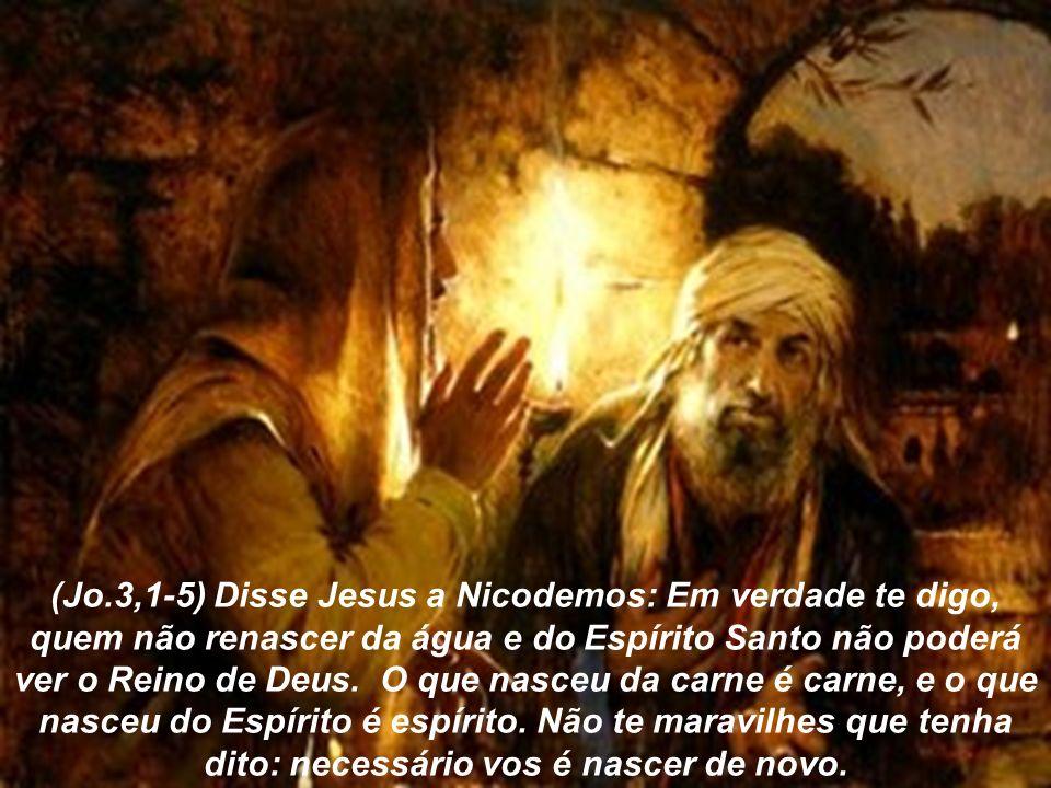 (Jo.3,1-5) Disse Jesus a Nicodemos: Em verdade te digo, quem não renascer da água e do Espírito Santo não poderá ver o Reino de Deus. O que nasceu da