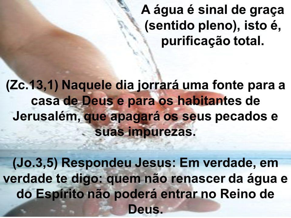 A água é sinal de graça (sentido pleno), isto é, purificação total. (Jo.3,5) Respondeu Jesus: Em verdade, em verdade te digo: quem não renascer da águ