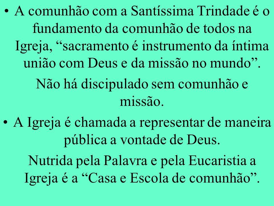 A comunhão com a Santíssima Trindade é o fundamento da comunhão de todos na Igreja, sacramento é instrumento da íntima união com Deus e da missão no m