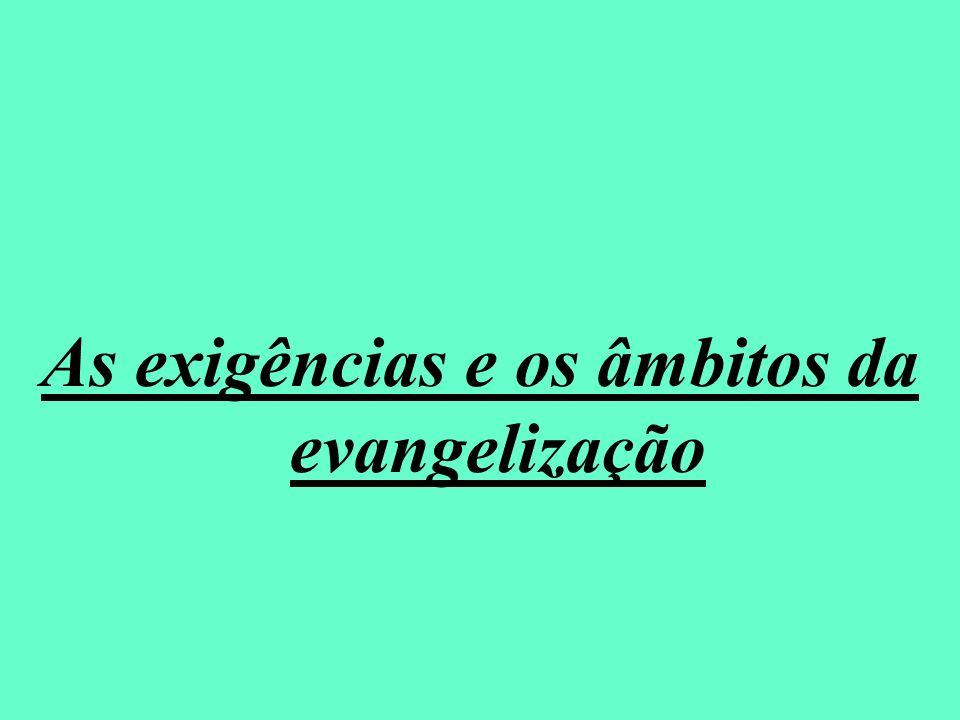 As exigências e os âmbitos da evangelização