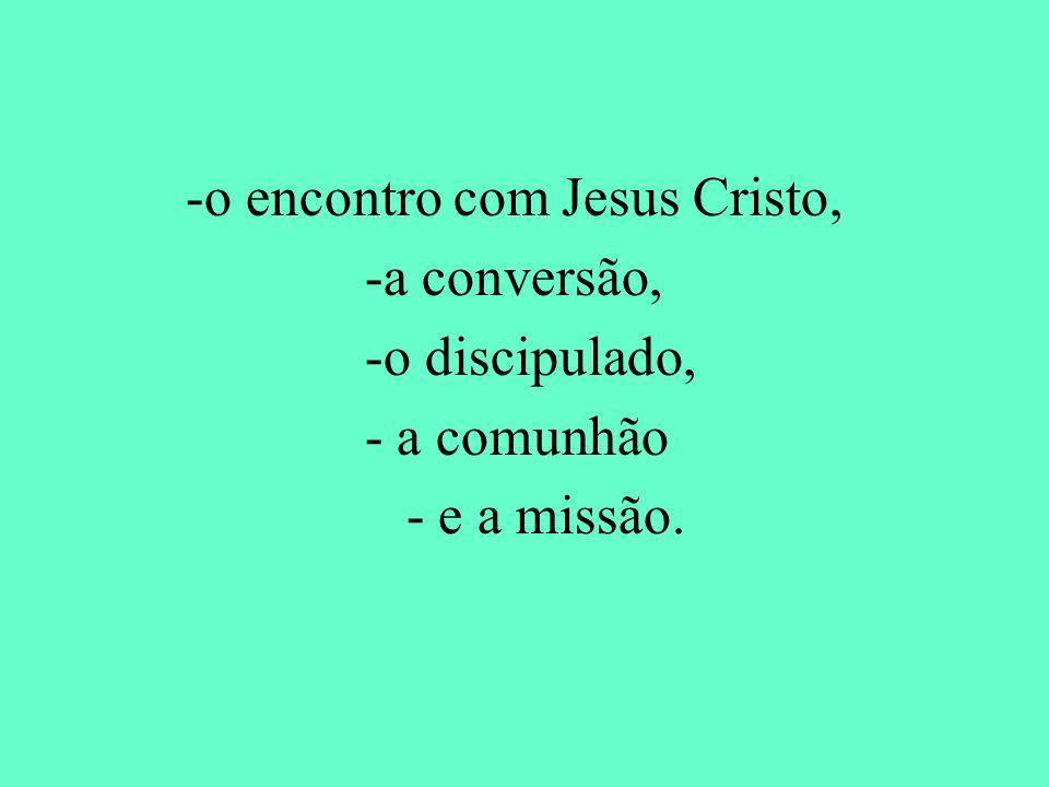 -o encontro com Jesus Cristo, -a conversão, -o discipulado, - a comunhão - e a missão.