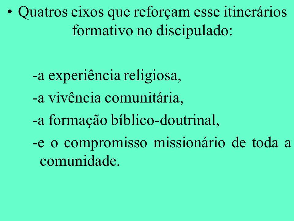 Quatros eixos que reforçam esse itinerários formativo no discipulado: -a experiência religiosa, -a vivência comunitária, -a formação bíblico-doutrinal
