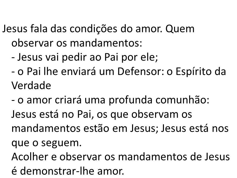 Jesus fala das condições do amor. Quem observar os mandamentos: - Jesus vai pedir ao Pai por ele; - o Pai lhe enviará um Defensor: o Espírito da Verda