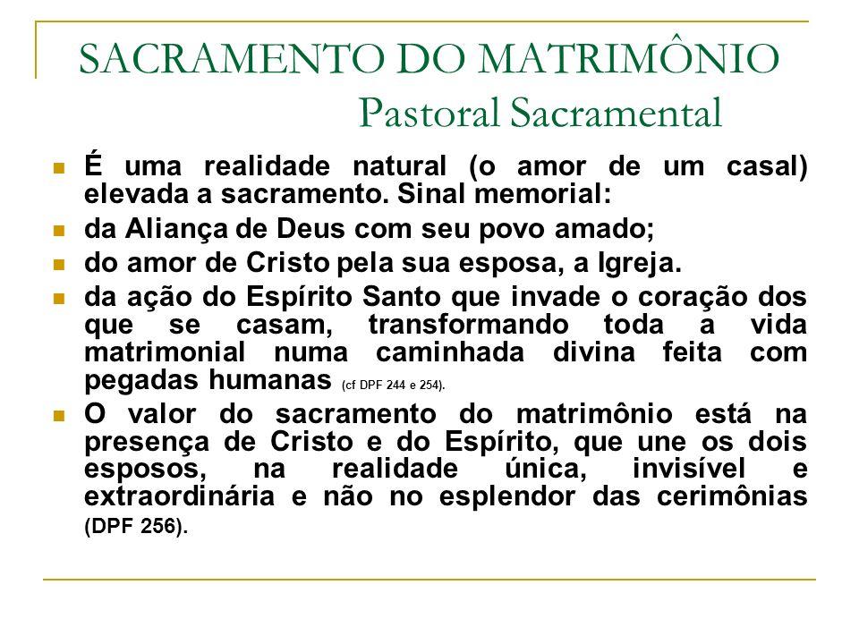 SACRAMENTO DO MATRIMÔNIO Pastoral Sacramental É uma realidade natural (o amor de um casal) elevada a sacramento. Sinal memorial: da Aliança de Deus co