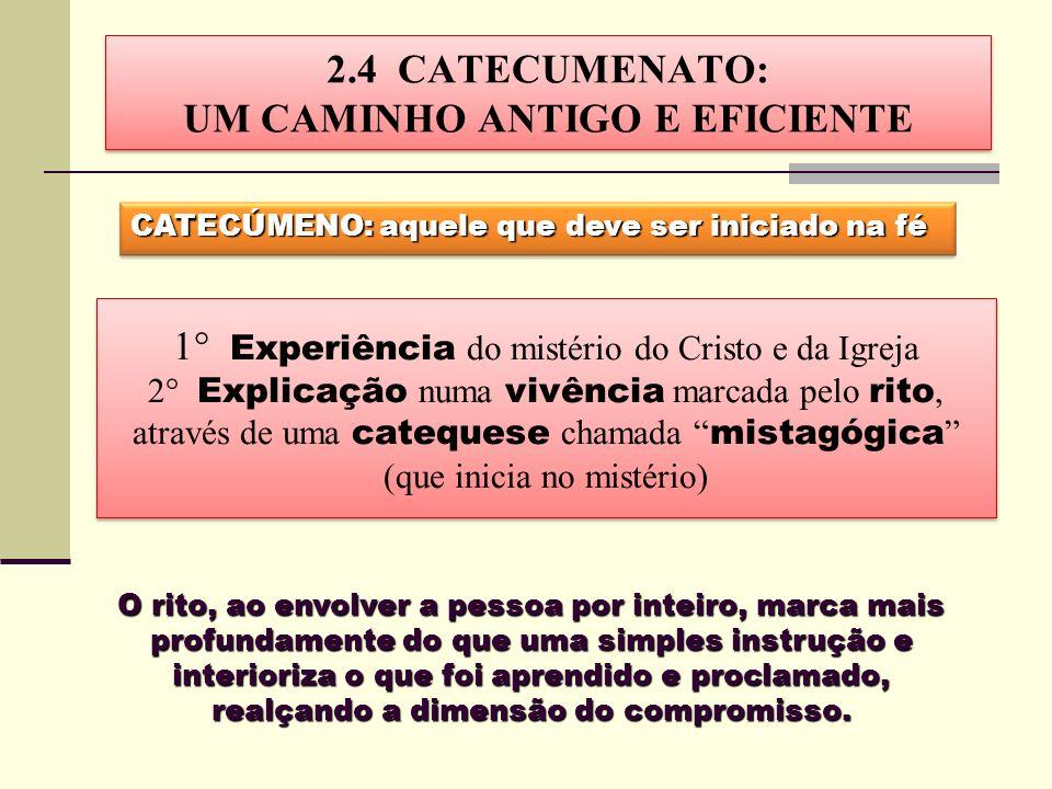 CATECÚMENO: aquele que deve ser iniciado na fé O rito, ao envolver a pessoa por inteiro, marca mais profundamente do que uma simples instrução e inter