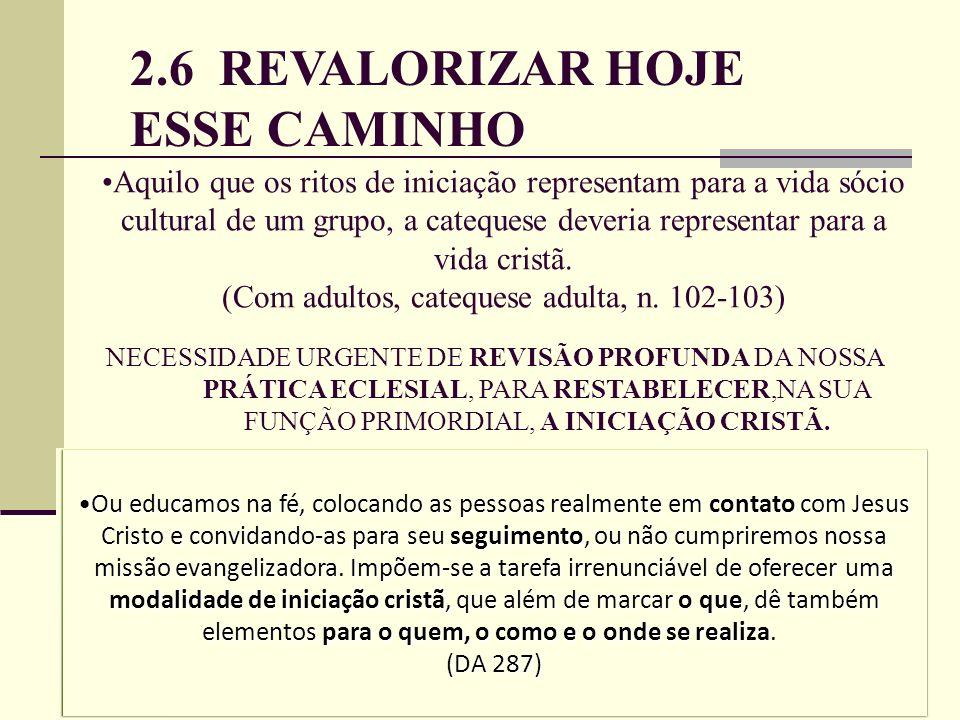 2.6 REVALORIZAR HOJE ESSE CAMINHO Aquilo que os ritos de iniciação representam para a vida sócio cultural de um grupo, a catequese deveria representar