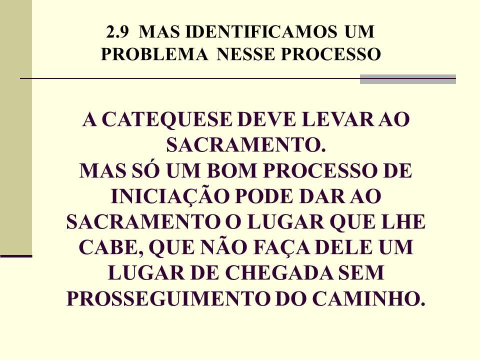 2.9 MAS IDENTIFICAMOS UM PROBLEMA NESSE PROCESSO A CATEQUESE DEVE LEVAR AO SACRAMENTO. MAS SÓ UM BOM PROCESSO DE INICIAÇÃO PODE DAR AO SACRAMENTO O LU