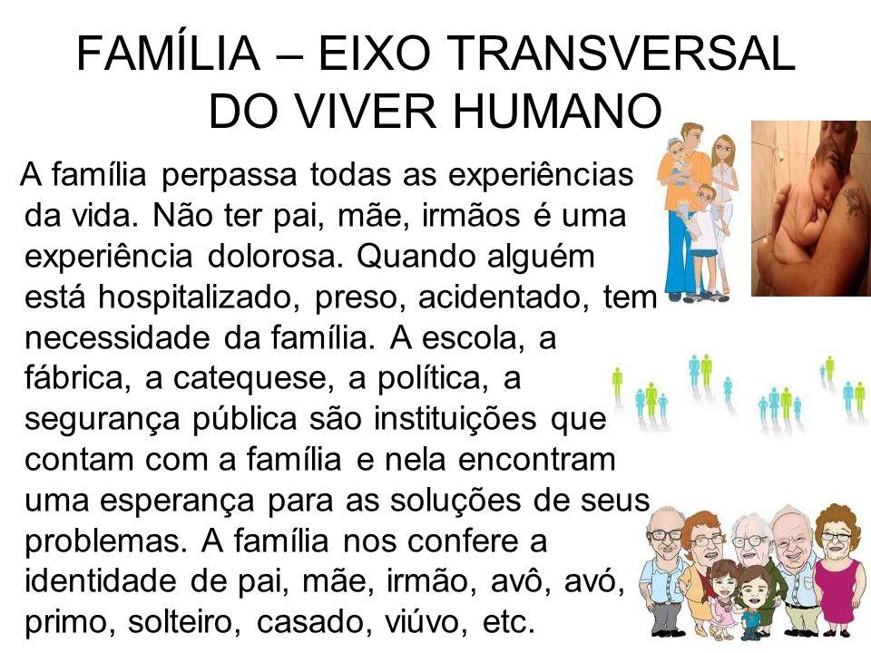 FAMÍLIA – EIXO TRANSVERSAL DO VIVER HUMANO A família perpassa todas as experiências da vida. Não ter pai, mãe, irmãos é uma experiência dolorosa. Quan