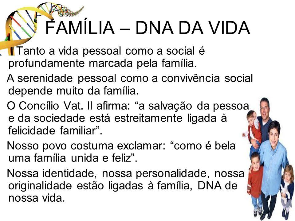 FAMÍLIA – DNA DA VIDA Tanto a vida pessoal como a social é profundamente marcada pela família. A serenidade pessoal como a convivência social depende