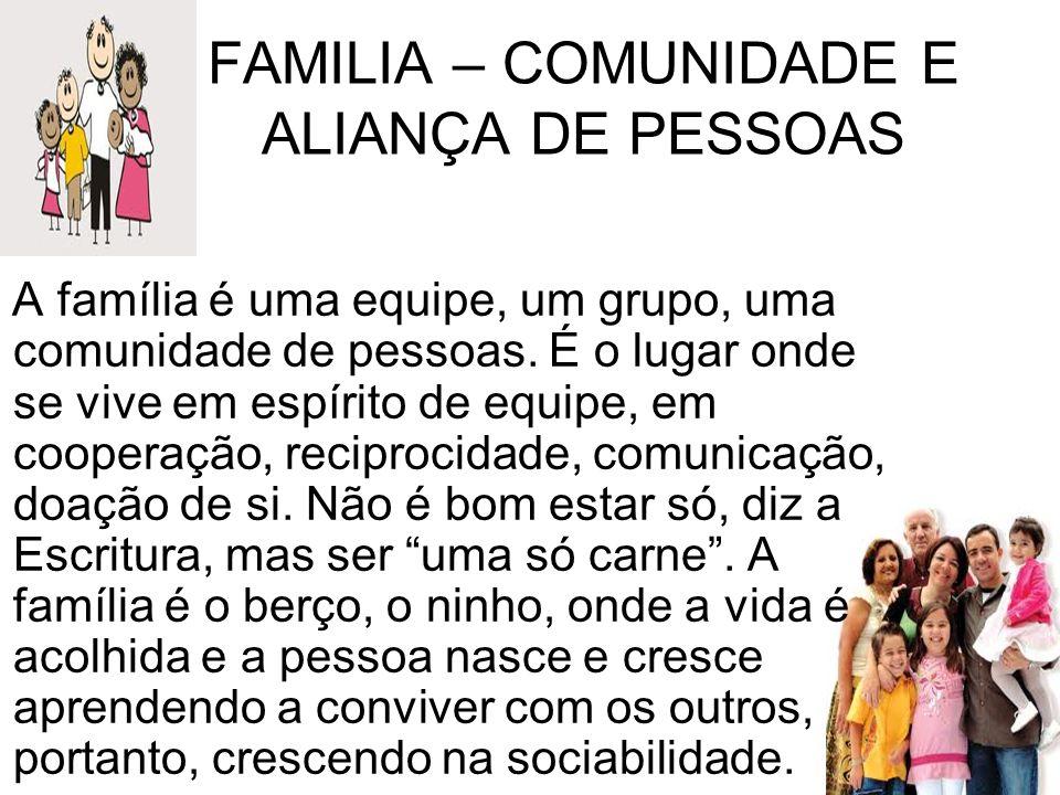 FAMILIA – COMUNIDADE E ALIANÇA DE PESSOAS A família é uma equipe, um grupo, uma comunidade de pessoas. É o lugar onde se vive em espírito de equipe, e