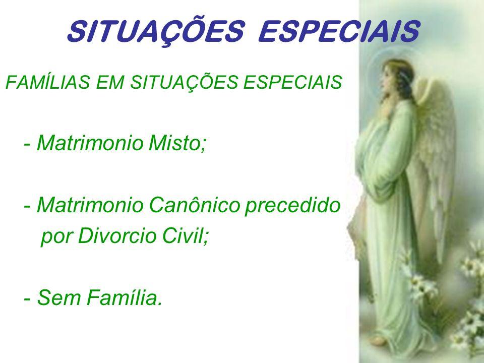 FAMÍLIAS EM SITUAÇÕES ESPECIAIS - Matrimonio Misto; - Matrimonio Canônico precedido por Divorcio Civil; - Sem Família. SITUAÇÕES ESPECIAIS