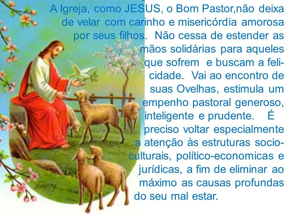 A Igreja, como JESUS, o Bom Pastor,não deixa de velar com carinho e misericórdia amorosa por seus filhos. Não cessa de estender as mãos solidárias par