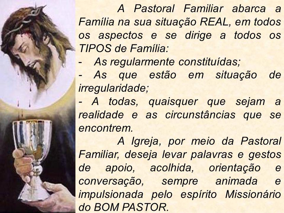 A Pastoral Familiar abarca a Família na sua situação REAL, em todos os aspectos e se dirige a todos os TIPOS de Família: - As regularmente constituída