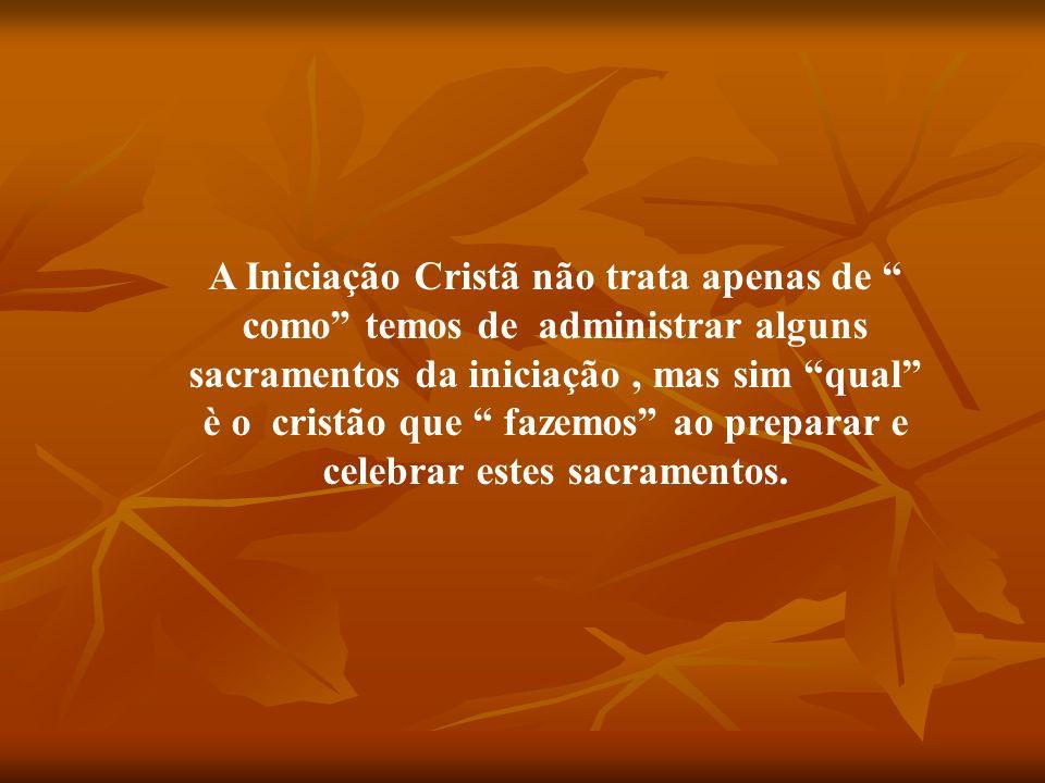 A Iniciação Cristã não trata apenas de como temos de administrar alguns sacramentos da iniciação, mas sim qual è o cristão que fazemos ao preparar e c