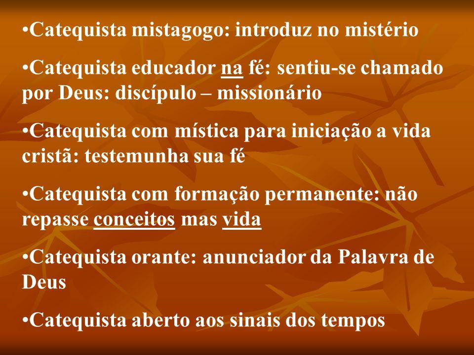 Catequista mistagogo: introduz no mistério Catequista educador na fé: sentiu-se chamado por Deus: discípulo – missionário Catequista com mística para