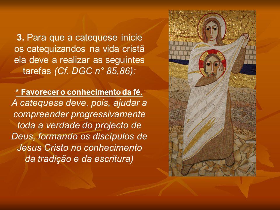 3. Para que a catequese inicie os catequizandos na vida cristã ela deve a realizar as seguintes tarefas (Cf. DGC n° 85,86): * Favorecer o conhecimento