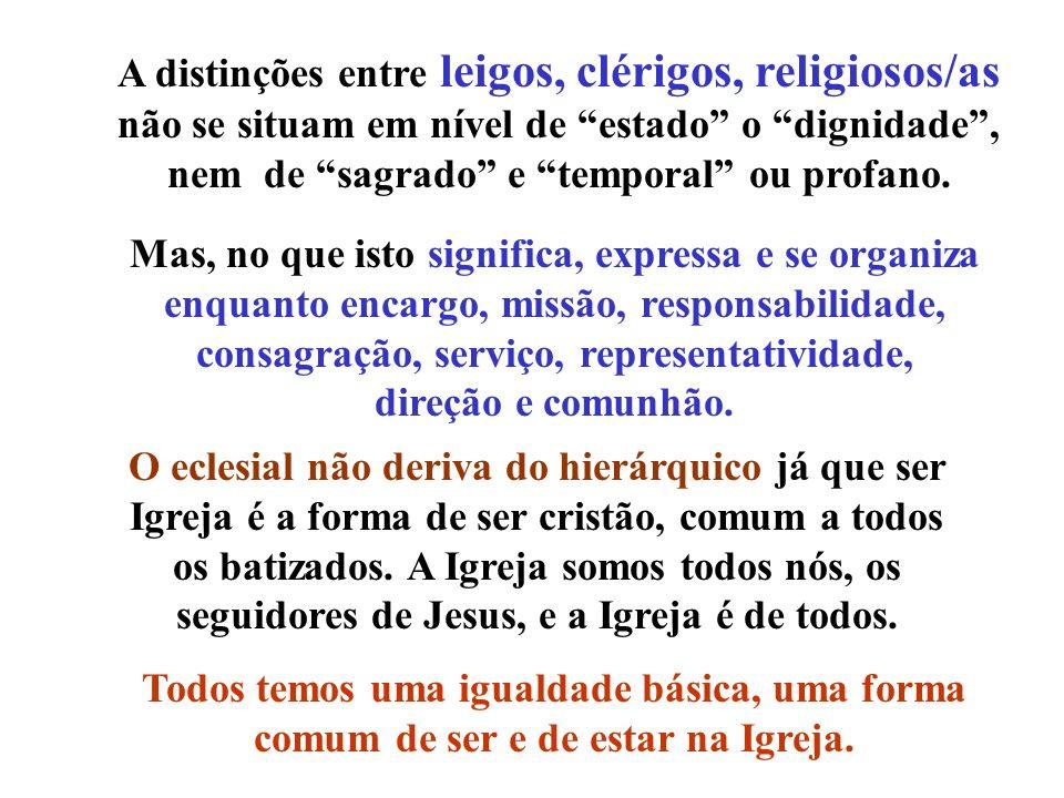 A distinções entre leigos, clérigos, religiosos/as não se situam em nível de estado o dignidade, nem de sagrado e temporal ou profano. Mas, no que ist