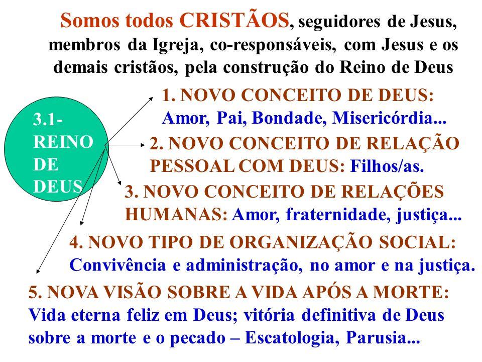 Somos todos CRISTÃOS, seguidores de Jesus, membros da Igreja, co-responsáveis, com Jesus e os demais cristãos, pela construção do Reino de Deus 3.1- REINO DE DEUS 1.