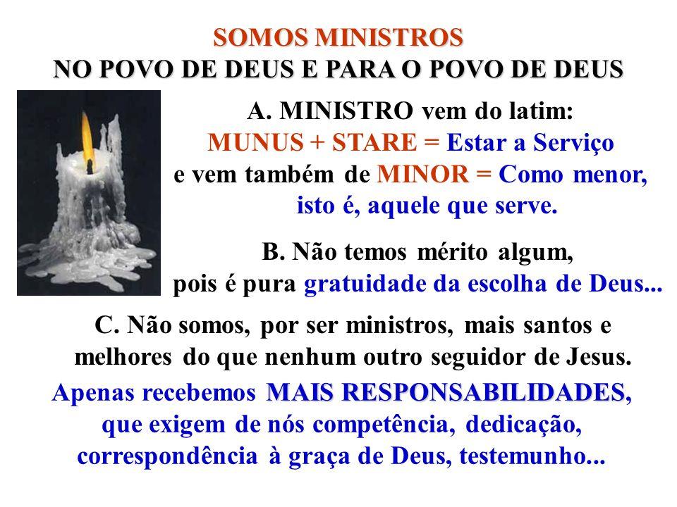 SOMOS MINISTROS NO POVO DE DEUS E PARA O POVO DE DEUS A. MINISTRO vem do latim: MUNUS + STARE = Estar a Serviço e vem também de MINOR = Como menor, is