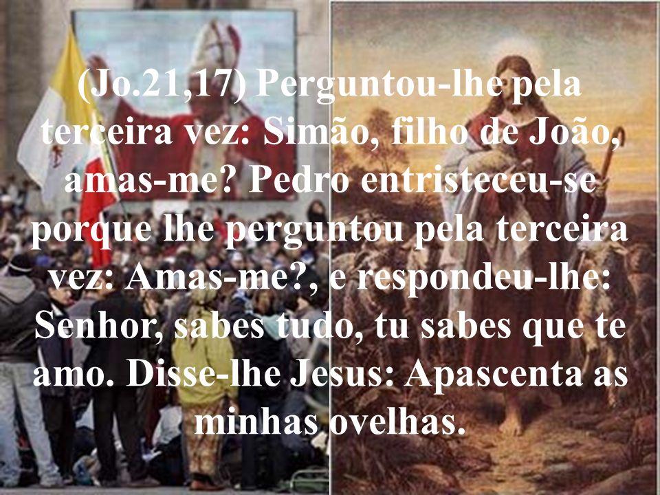 (Jo.21,17) Perguntou-lhe pela terceira vez: Simão, filho de João, amas-me? Pedro entristeceu-se porque lhe perguntou pela terceira vez: Amas-me?, e re