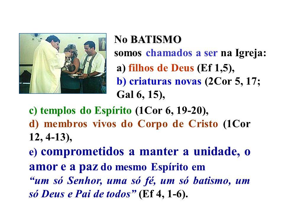 c) templos do Espírito (1Cor 6, 19-20), d) membros vivos do Corpo de Cristo (1Cor 12, 4-13), e) comprometidos a manter a unidade, o amor e a paz do me